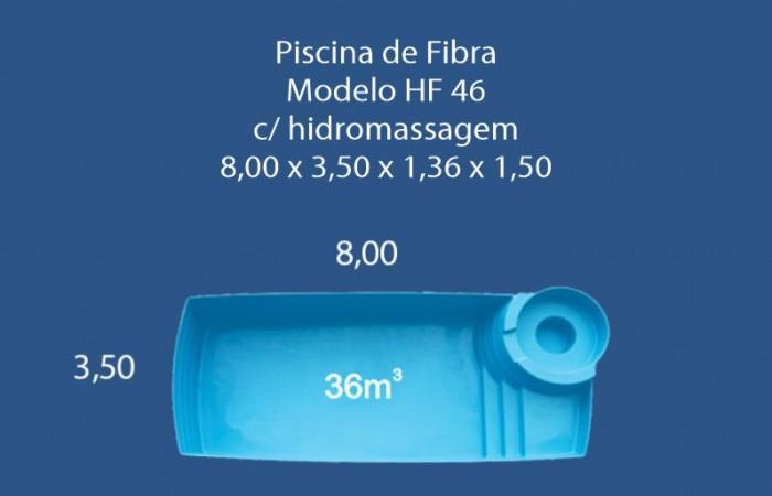 Piscina de Fibra 8.00 x 3.50 x 1.36 x 1.50
